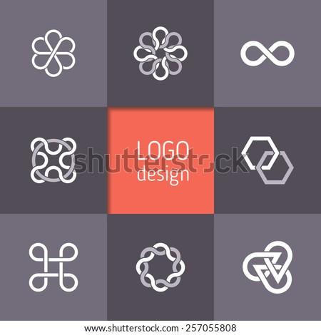 Vector abstract logotypes. Infinity symbols, intertwining circles, triangular and hexagonal templates, elegant abstract symbols. Modern minimalist elements for branding and logo design - stock vector