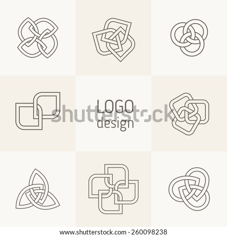 Vector abstract logotypes. Intertwining shapes, triangular templates, elegant abstract symbols. Modern universal elements for branding and logo design. Outlined shapes with weaving effect. - stock vector