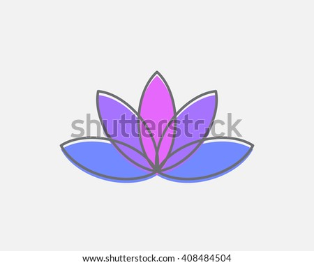 Vector abstract lotus logo. Creative symbol of purity and enlightenment. Buddhism concept