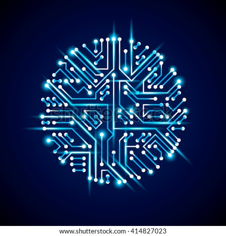 Vector abstract luminescent technology illustration, round blue neon circuit board with sparkles. High tech circular digital scheme of electronic device.