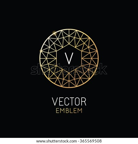 Vector abstract luxury logo design template in trendy linear style - monogram concept for jewelry or luxury product - stock vector