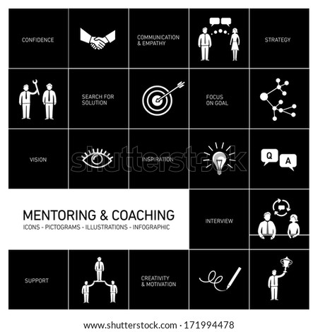 vector abstract mentoring and coaching icons and pictograms set of skills and solutions  - stock vector