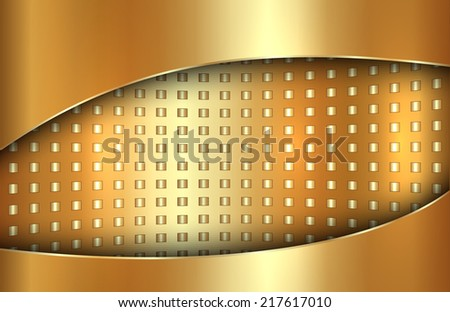 Vector abstract metal gold background in tabloid format - stock vector
