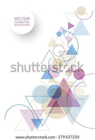 Vector abstract modern background with geometric shapes - circles, triangles and lines - stock vector