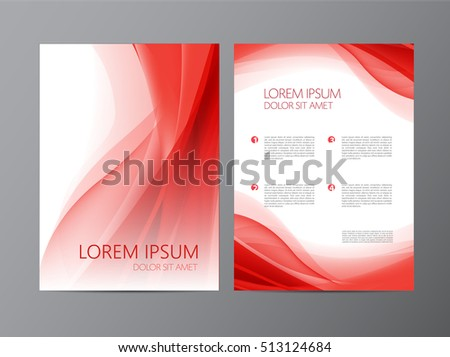 Vector abstract modern wavy red flowing flyer, brochure, cover design. Abstract modern brochure design templates