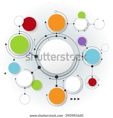 Vector abstract molecules and social media communication technology concept with 3D paper label. Integrated circles and space for your content, business, infographic template, network and web design   - stock vector