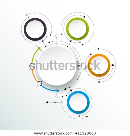 Vector abstract molecules, 3D paper label, integrated circles. Blank space for content, business, infographic template, diagram, network, web design. Social media connection technology concept   - stock vector