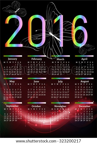 Vector abstract multicolored calendar of 2015