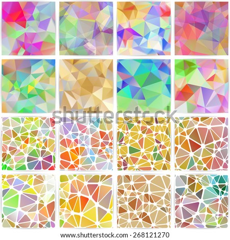 Vector abstract multicolored polygonal mosaic backgrounds collection. Modern geometric triangular patterns. Business design templates.  Set of 16 items. - stock vector