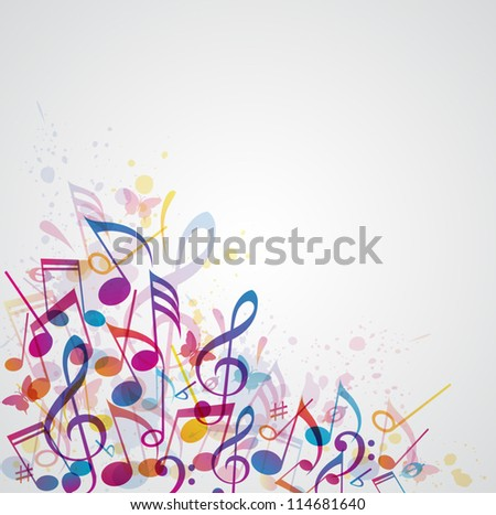 Vector abstract music background with notes
