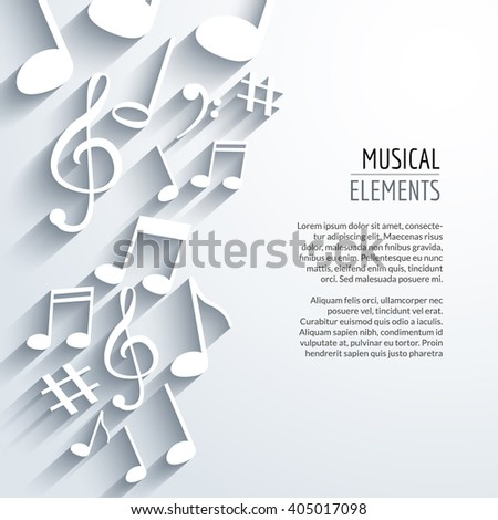 Vector abstract Music notes and lines. On white isolated background. Musical concept. - stock vector