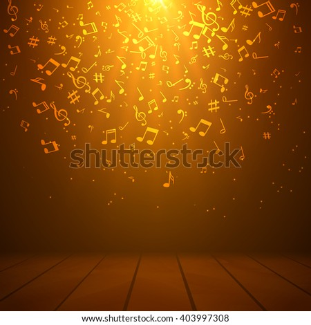 Vector abstract musical background with musical notes. - stock vector