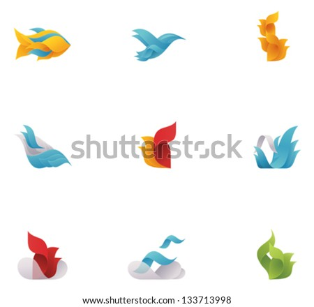 Vector abstract nature elements - stock vector