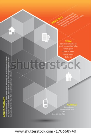 Vector abstract orange background with 3D gray cubes and corporate presentation icons and place for content.  - stock vector