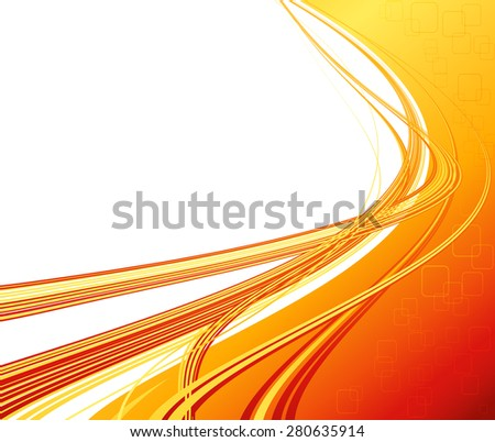 Vector Abstract orange color curved lines background. Technology banner. Template brochure design - stock vector