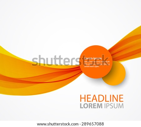 Vector abstract orange wave background for brochure design - stock vector