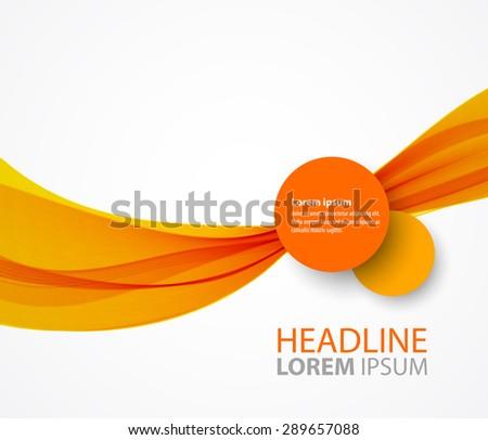 Vector abstract orange wave background for brochure design - stock vector