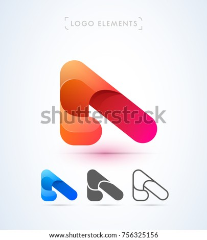 Vector Abstract Origami Letter Template Material Stock Vector