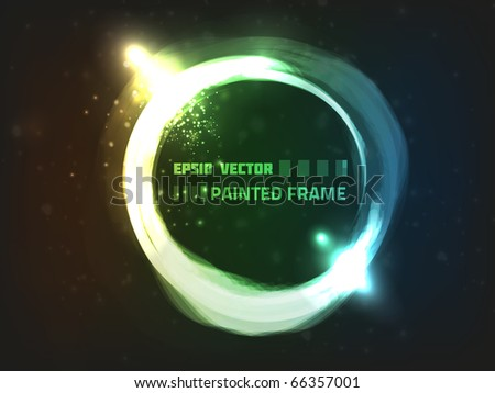 Vector abstract painted frame. Contains bright lights and dim blurry particles on dark background. Colored orange, green and blue. - stock vector