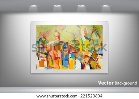 Vector abstract painting hanging from gallery wall. Fully editable eps10 - stock vector