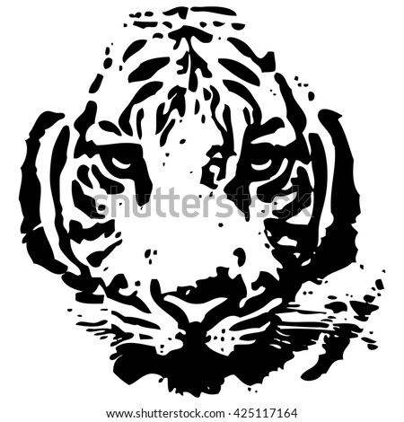 Vector abstract pattern of a Tiger head.  - stock vector