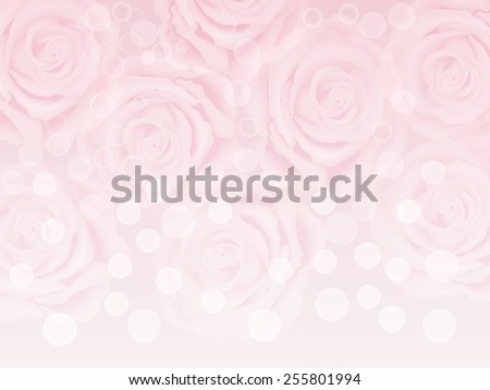 Vector abstract pink background with many pink roses and  bokeh spots