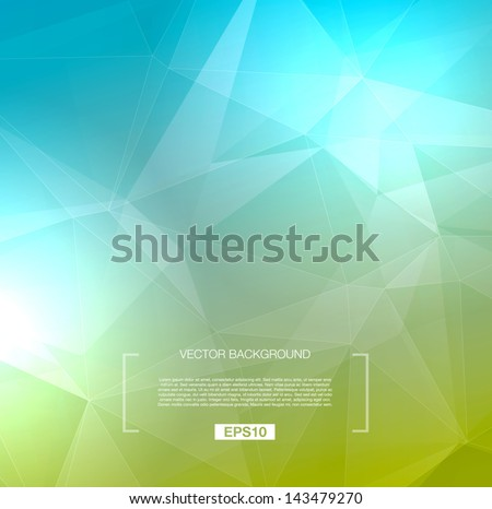 Vector abstract polygonal background - green / blue - stock vector