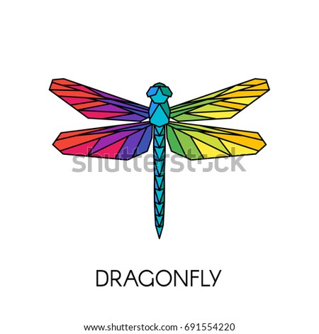 Vector Abstract Polygonal Dragonfly Geometric Colorful ...