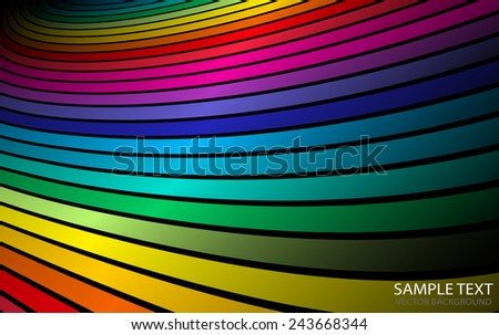 Vector abstract rainbow arc background illustration - Abstract rainbow vector colorful striped background illustration - stock vector