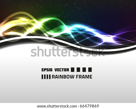 Vector abstract rainbow frame design on white background. Has bright lights and dim circles. - stock vector