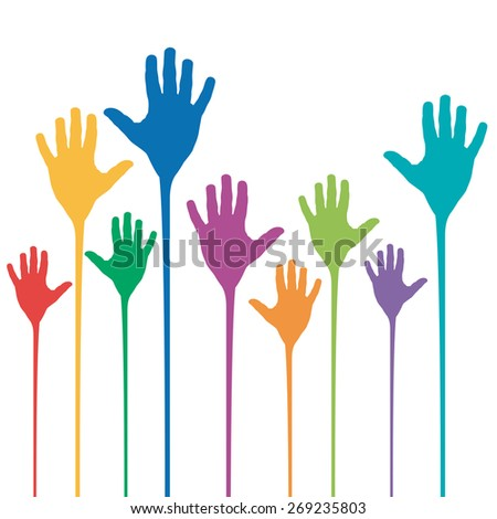 Vector abstract rainbow hands up