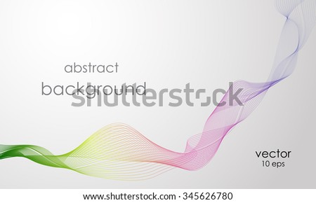 Vector abstract rainbow line. Vector smoke. Curved lines - stock vector