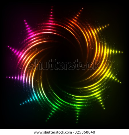 Vector abstract rainbow neon spirals vector cosmic frame - stock vector