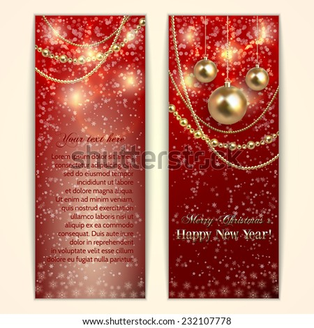 Vector abstract  red Christmas and New Year Greeting or Invitation two side vertical Card - stock vector