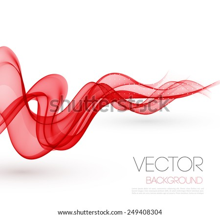 Vector Abstract red smoky waves  background. Template brochure design - stock vector