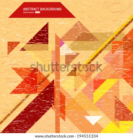Vector abstract retro background with geometric shapes. - stock vector