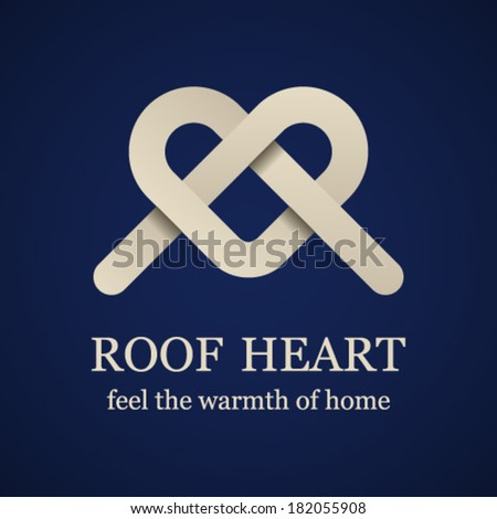 vector abstract roof heart symbol - stock vector