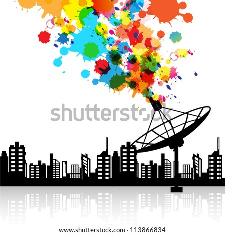vector abstract satellite dish signal technology, telecommunication background - stock vector