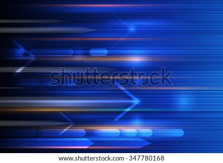 Vector Abstract, science, futuristic, energy technology concept. Digital image of arrow sign, stripes lines with blue light, speed and motion blur over dark blue background - stock vector