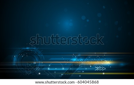Vector Abstract, science, futuristic, energy technology concept. Image of circuit board, arrow sign, light rays, stripes lines with blue light, speed movement, motion blur over dark blue background