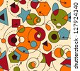 vector abstract seamless composition with geometric figures, seamless pattern in swatch menu - stock