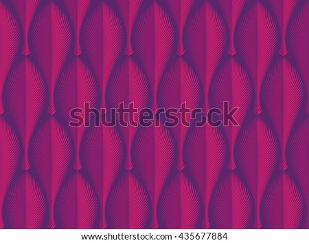 Vector abstract seamless geometric rhythmical purple pattern. Art deco style. Repeat decorative feather, leaf, fan with edge. Wallpaper for PC, laptop or phone. Wrapping paper.  - stock vector