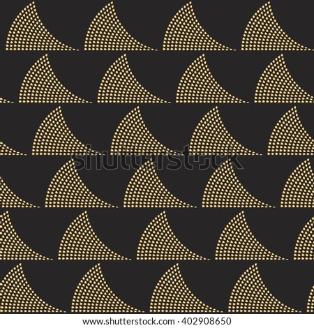 Vector abstract seamless geometrical art deco pattern. Stylized ocean waves from small golden beige drop-shaped elements on a dark black background. Page fill, wrapping paper, wallpaper, batik paint - stock vector