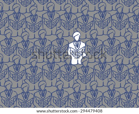 Vector abstract seamless image of business people to open the folder. male choir open songwriters. crowd of business men. Conference. Congress. White crow. - stock vector