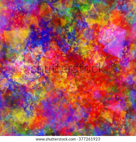 Vector abstract seamless pattern. Bright colors glowing triangles. Background with colors like a blurred and  watercolor effect.