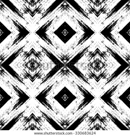 Vector abstract seamless pattern, geometric ornament. Tribal ethnic background, graphic repeating texture. Black and white - stock vector