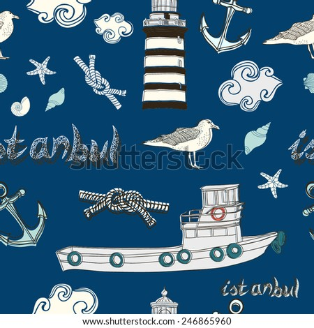 Vector abstract seamless pattern of Istanbul. - stock vector