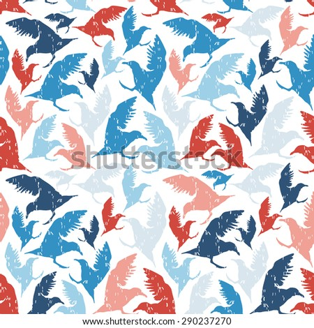 Vector abstract seamless pattern with birds - stock vector