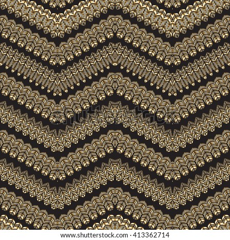 Vector abstract seamless zig zag pattern with stylized bird feather silhouette. Horizontal golden waves,lacy tribal ornaments on a black background. Wallpaper, wrapping. Folk, ethnic - stock vector