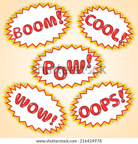 Vector abstract set of comic bubbles with exclamations - stock vector